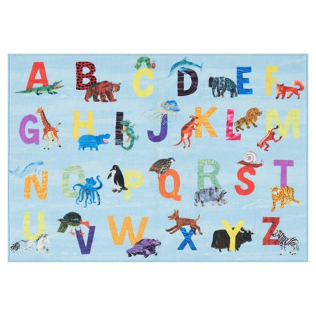 Eric Carle Elementary Blue Alphabet Decorative Area (Alphabet Rug)
