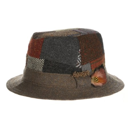 Hanna Hats 100% Wool Walking Hat Patchwork Irish - Tweed (Large) Classic Tweed Hat