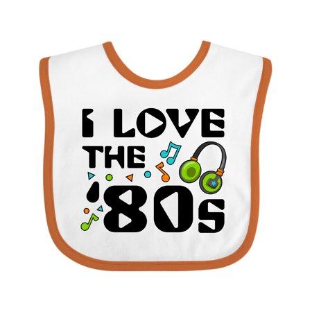 Inktastic I Love the '80s-musical notes Baby Bib Unisex, White and Orange