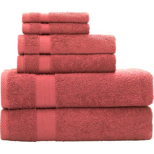 Mainstays Quick Drying 6-Piece  Bath Towel Set