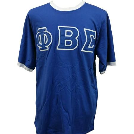 Phi Beta Sigma Applique Ringer Mens Tee  Short Sleeve   Blue   Xl