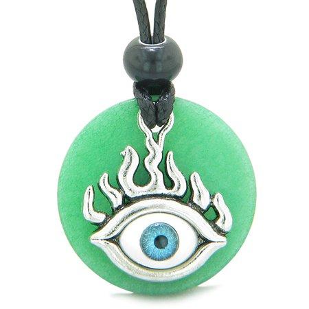 Quartz Medallion (Cool Evil Eye Protection Flames Amulet Deep Green Quartz Medallion Magic Powers Adjustable Necklace)