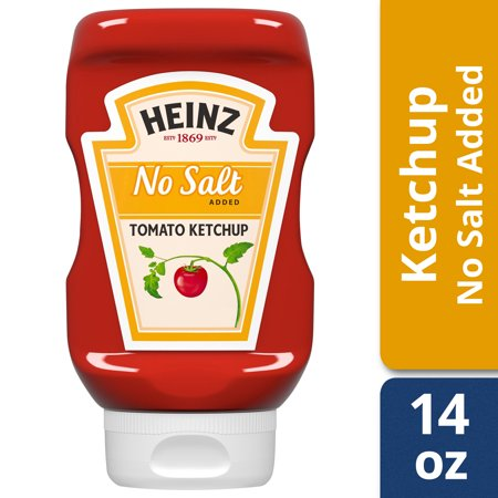 (2 Pack) Heinz No Salt Added Inverted Bottle Tomato Ketchup, 14 oz Bottle Salt Pepper Ketchup