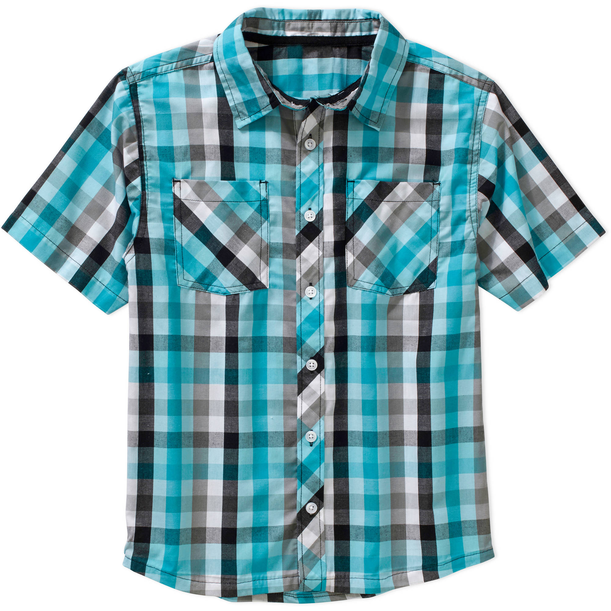 Mick Mack Boys' Short Sleeve Plaid Woven Shirt