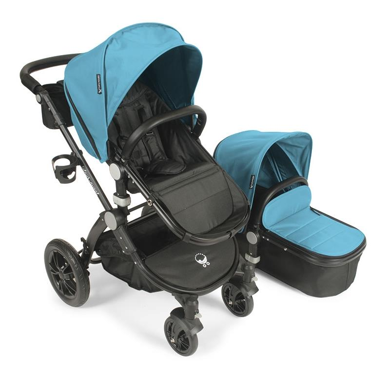 Babyroues letour avant stroller w/bassinet black frame cyan fabric