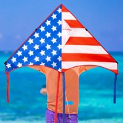 """GEX 50"""" Patriotic American Flag Large Delta Kite for Kids and Adults Single Line with 58"""" Tail String Easy to Fly for Beach Trip Park Family Outdoor Games and Activities"""