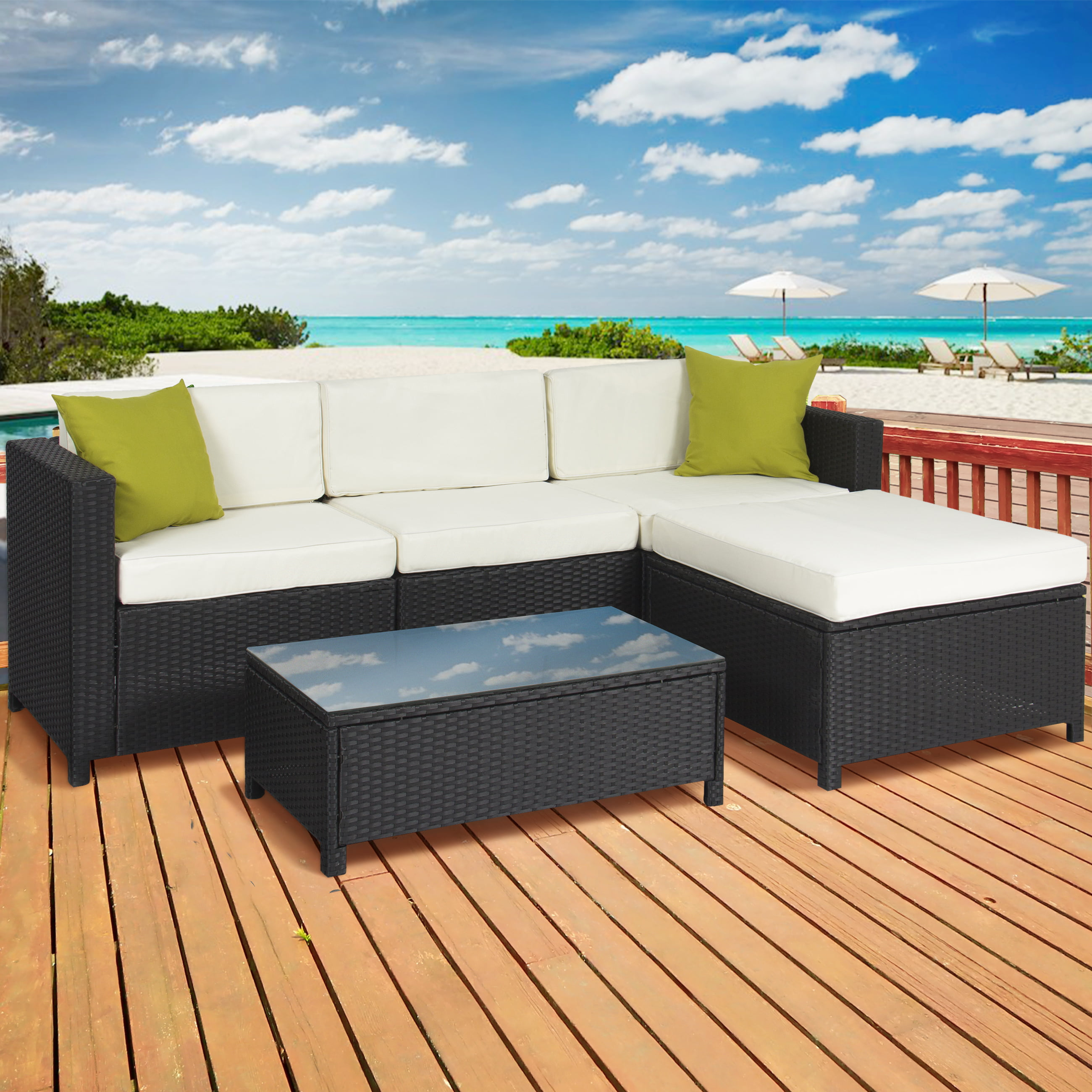 Outdoor Patio Furniture Cushioned 5PC Rattan Wicker Aluminum Frame  Sectional Sofa Set   Walmart com. Outdoor Patio Furniture Cushioned 5PC Rattan Wicker Aluminum Frame