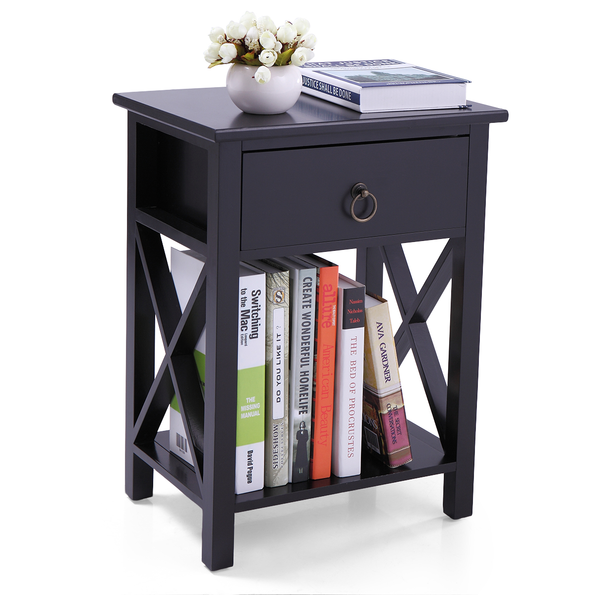 Jaxpety Side End Table Cross Style Narrow Chair Side Storage Living Room Black Nightstand With One Drawer