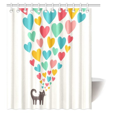 - MYPOP Cat Lover Shower Curtain, Cute Cat in Love with Colorful Different Sizes of Hearts Happy Sweet Clipart Fabric Bathroom Shower Curtain with Hooks, 60 X 72 Inches