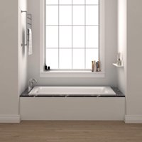 Fine Fixtures Drop-In Soaking Bathtub, Reinforced Acrylic/Fiberglass. White