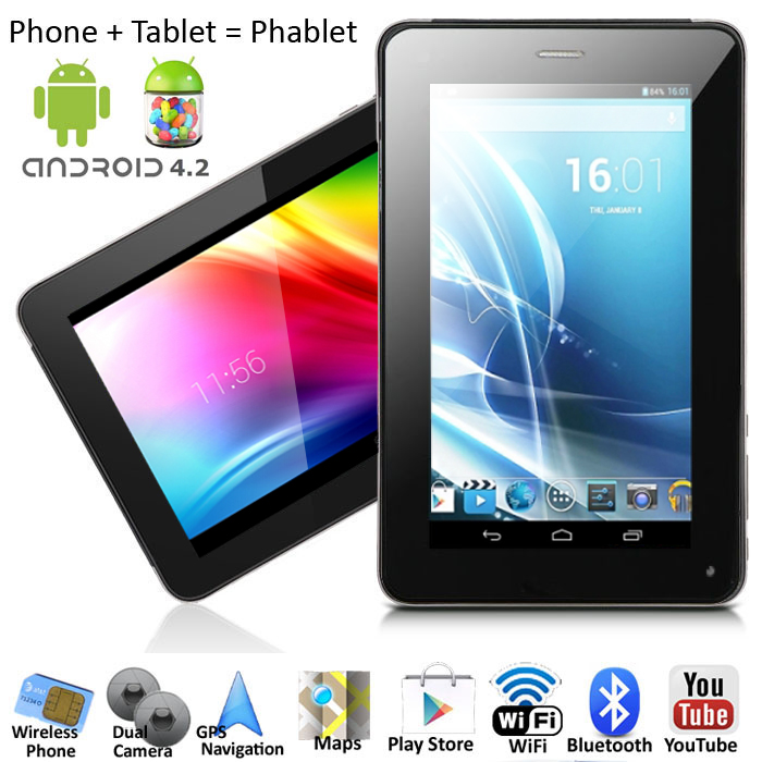 inDigi 2-in-1 Dual Core Android 4.4 Tablet & Phone + ( Bl...