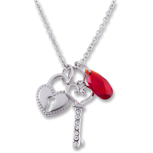 """Connections from Hallmark Stainless Steel Key-Heart with Stone Pendant, 18"""""""
