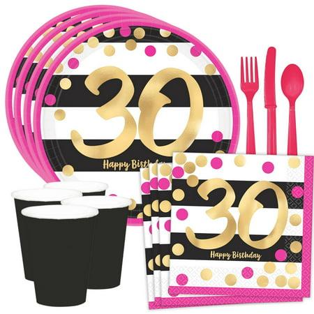 Metallic Pink & Gold 30th Birthday Dessert Standard Tableware Kit (Serves 8)](30th Birthday Cups)