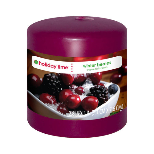 """Holiday Time 3"""" Pillar Candle, Winter Berries"""