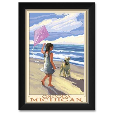 Oscoda Michigan Girl Dog Beach Framed Art Print By Joanne
