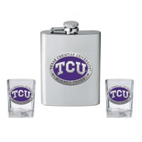 TCU Texas Christian Flask and 2 Shot Glass Set Liquor Flask