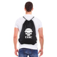 USMC Semper Fi Skull Marine Corp Eco-Friendly Draw String Bag Black & White