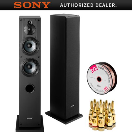Sony 3-Way 4-Driver Bass Reflex Stereo Floor-Standing Speaker (SS-CS3) with Monoprice Select Series 16 AWG Speaker Wire 100ft & High-Quality Brass Speaker Banana Plugs, 5-Pair, Open Screw (The Best Floor Standing Speakers)