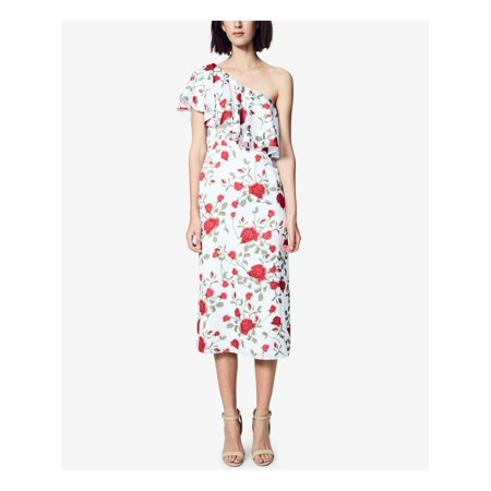 FAME AND PARTNERS Womens Red Ruffled Floral Sleeveless Asymmetrical Neckline Tea Length Sheath Cocktail Dress  Size: 0 Ruffle Tea Dress
