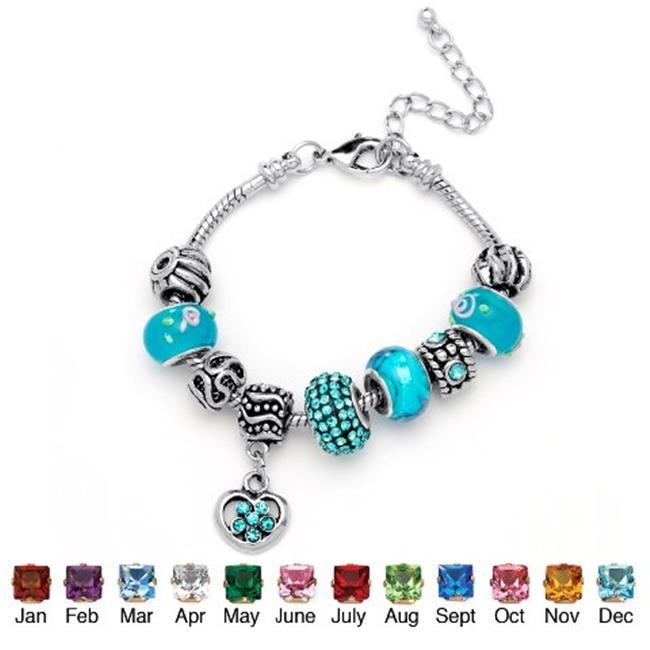 PalmBeach Jewelry 5215912 Round Birthstone-Color Crystal Silvertone Metal Bali-Style Beaded Charm and Spacer Bracelet