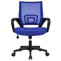 Height Ergonomic Mesh Office Chair Mid-back Rolling Chair Blue
