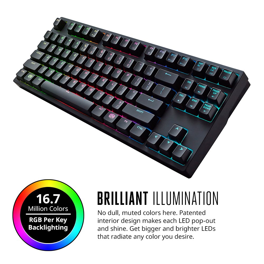 Cooler Master Masterkeys Pro S Sgk-6030-kkcl1-us Keyboard - Cable Connectivity - Usb 2.0 Interface - Compatible With Computer - Qwerty Keys Layout - Mechanical - Black (sgk-6030-kkcl1-us)