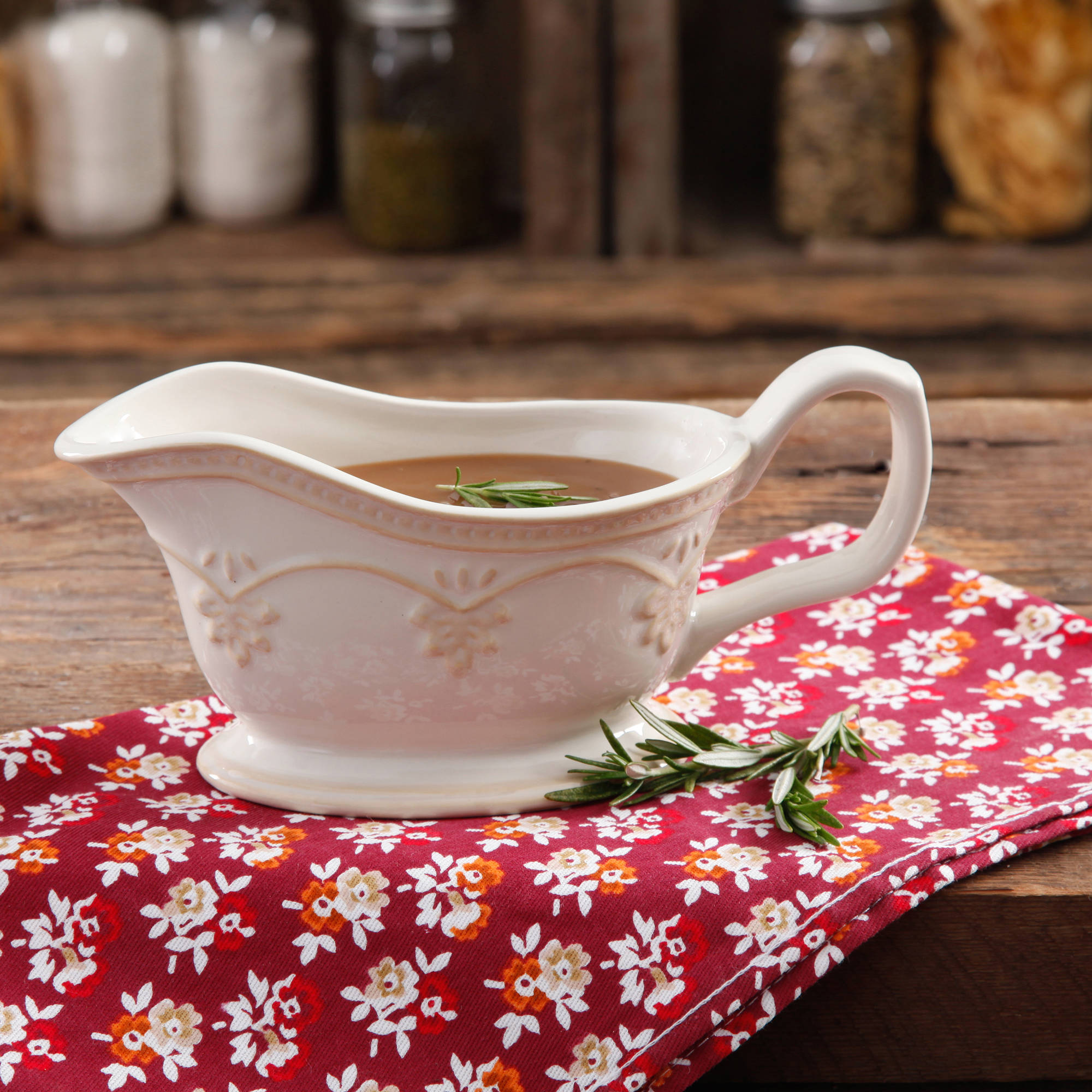 The Pioneer Woman Farmhouse Lace Linen Gravy/Sauce Boat