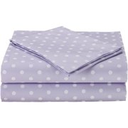 TL Care Cotton Percale 3-Piece Toddler Bedding Sheet Set, Lavender with White Dot