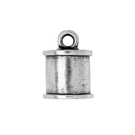 Nunn Design Cord End, Channel Barrel 14mm, 1 Piece, Antiqued Silver