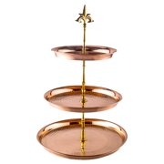 "Three Tier Hammered Solid Copper Serving Stand (8"",10"",12"" Trays) w/Brass Stem"