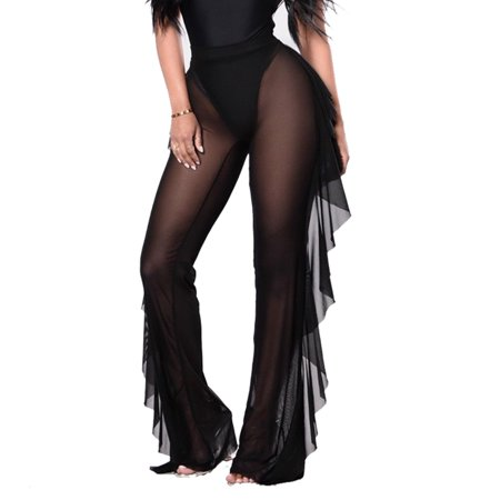 - Sexy Womens See Through Sheer Mesh Ruffle Trousers Swimsuit Beach Cover up Long Pants Bell Bottoms Black S