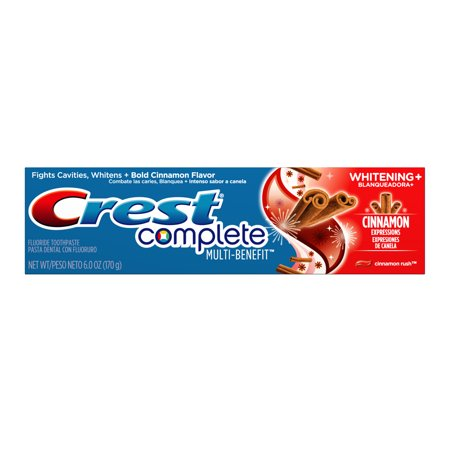 (2 pack) Crest Complete Multi-Benefit Whitening + Cinnamon Expressions Toothpaste, Cinnamon Rush, 6.0 ounce