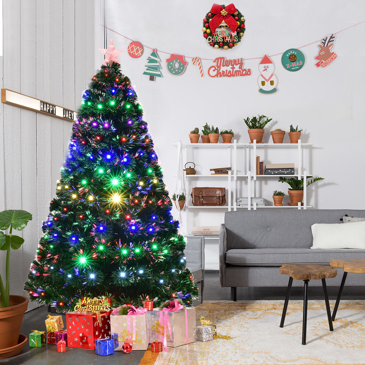 Costway 5'/6'/7' Pre-Lit Fiber Optic Artificial Christmas Tree w/Multicolor LED Lights & Stand