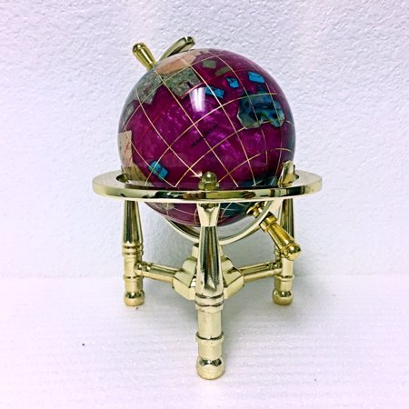 Unique Art 6-Inch Tall Pink Pearl Swirl Ocean Mini Table Top Gemstone World Globe with Gold Tripod Stand