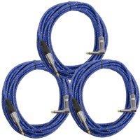 "Seismic Audio 18' (3 PK) 1/4"" to 1/4"" Right Angle Guitar Cables Woven Cloth Blue Black - SAGCRBB-18-3PK"