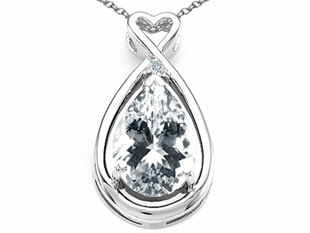 Tommaso Design Pear Shape 11x8mm Genuine White Topaz Pendant Necklace by