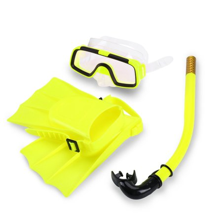 Qiilu Kids Swimming Diving Silicone Fins+Snorkel Scuba Eyeglasses+Quest Mask Diving Snorkel Set for Boys&Girls