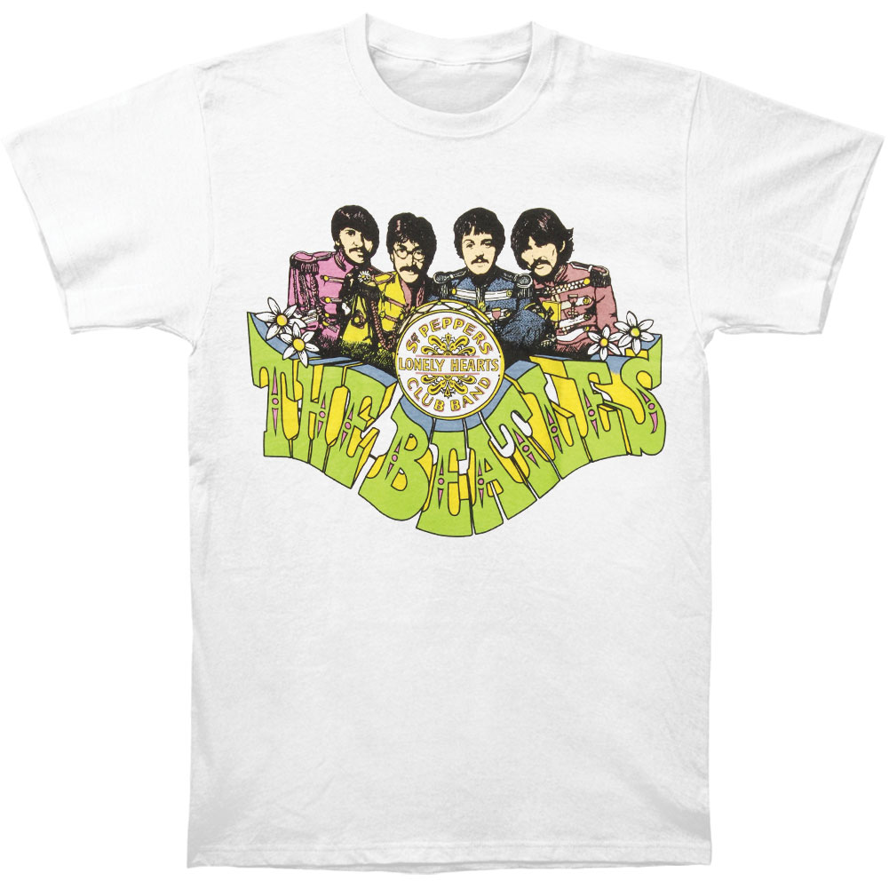 Beatles Men's  Sgt. Pepper's Cartoon T-shirt White