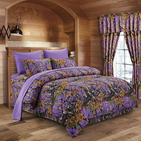 - Regal Comfort The Woods Purple Camouflage Twin 5pc Premium Luxury Comforter, Sheet, Pillowcases, and Bed Skirt Set by Camo Bedding Set For Hunters Cabin or Rustic Lodge Teens Boys and Girls