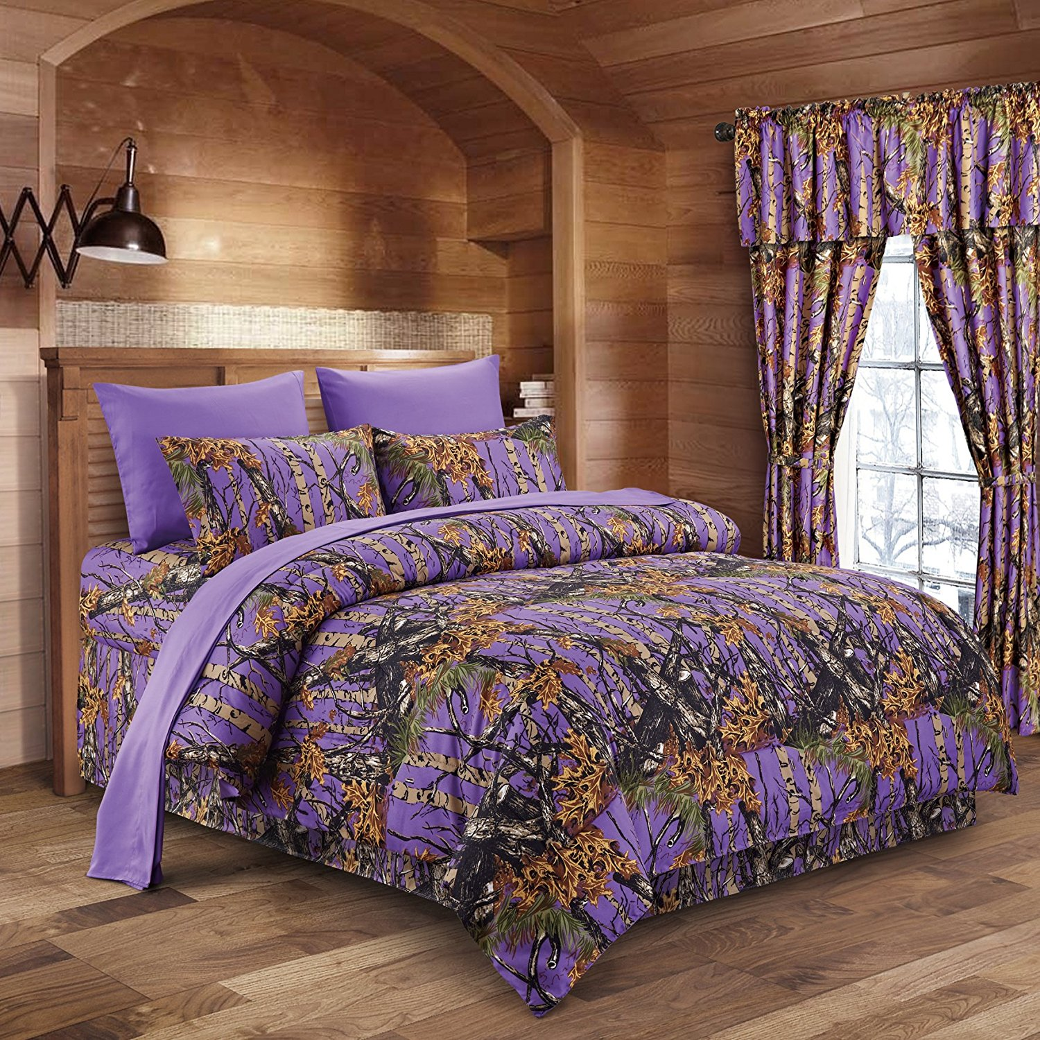 The Woods Purple Camouflage King 8pc Premium Luxury Comforter, Sheet, Pillowcases, and Bed Skirt Set by Regal Comfort Camo Bedding Set For Hunters Cabin or Rustic Lodge Teens Boys and Girls