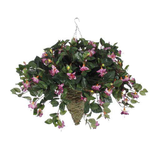 Charlton Home Faux Fuchsia Floral Arrangement in Cone Planter