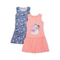 Disney Princess Mulan Exclusive Girls' 4-12 Drop Waist Dress, 2-Pack