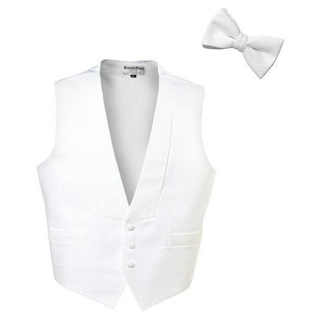 Pique Tuxedo (White Pique Full Back Tuxedo Vest with (Pre-Tied) Pique Bow Tie)