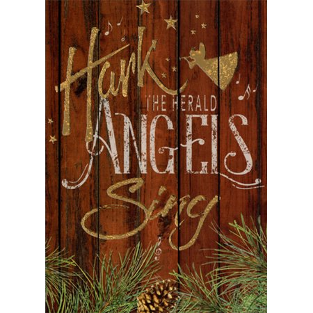 LPG Greetings Hark the Herald Angels Sing : Barb Tourtillotte Embossed Gold Foil Religious Christmas Card Single Power Foil Card