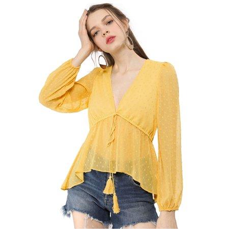 Unique Bargains Women's V Neck Drawstring Dots Chiffon Blouse Top Yellow M - image 6 of 6