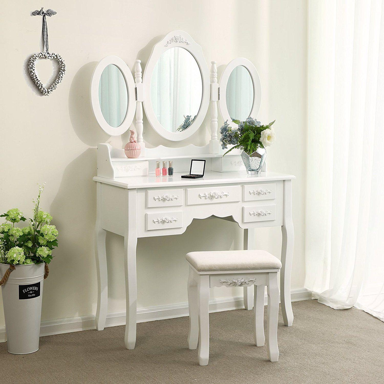 Ktaxon Dressing Table Makeup Desk Set 360°Rotation 3 ...