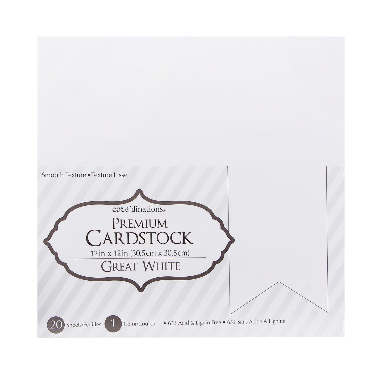 Cardstk Valuepack Great White 65Lbsmooth 12X12 20Pk