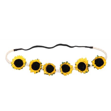 Lux Accessories Braided Sunflower Stretch Coachella - Sweet 16 Headband