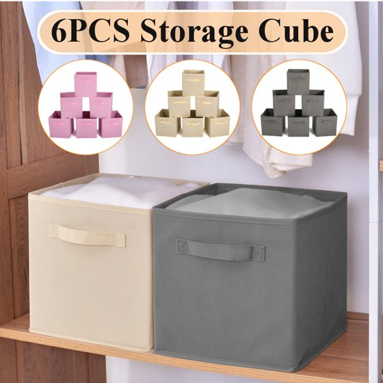 6 Packs Dual Handle Foldable Cloth Storage Cube Basket Bins Organizer Container Drawers Books Toys Snacks