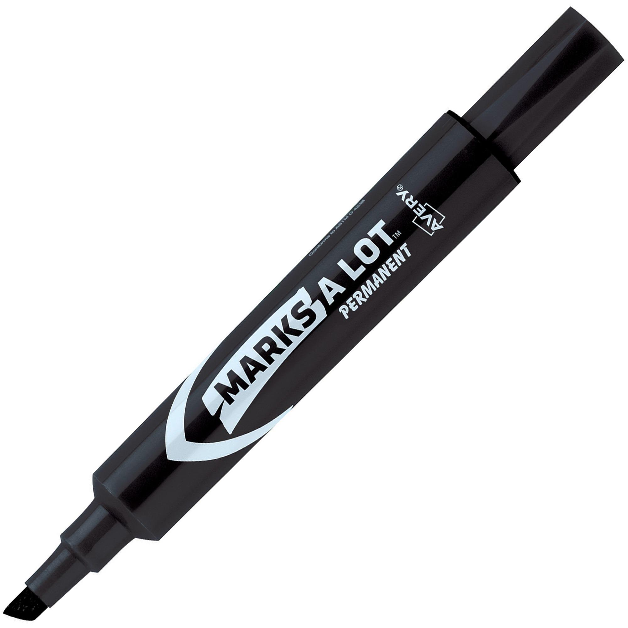 Avery Marks-A-Lot Regular Desk-Style Permanent Marker, Chisel Tip, Black, Dozen